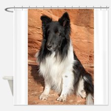 BLack and White Sheltie Shower Curtain