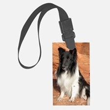 BLack and White Sheltie Luggage Tag