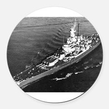 USS Massachusetts BB 62 Patch.png Round Car Magnet