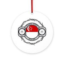 Singapore Biking Ornament (Round)