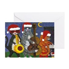 Jazz Cats Christmas Santas Greeting Cards (Pk of 2