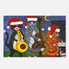 Jazz Cats Christmas Santas Postcards (Package of 8