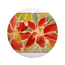 Red orchids! Beautiful art! Ornament (Round)