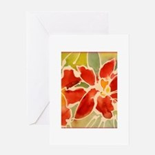 Red orchids! Beautiful art! Greeting Card