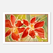 Red orchids! Beautiful art! Postcards (Package of