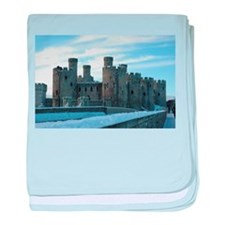 Snowy Conwy Castle, Conwy, Wales baby blanket