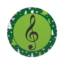 Treble Clef Music Christmas Ornament (Round)