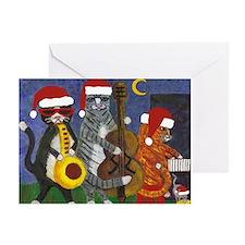 Jazz Cats Christmas Music Greeting Card