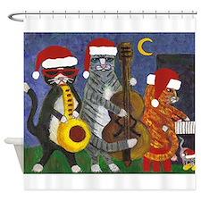Jazz Cats Christmas Music Shower Curtain