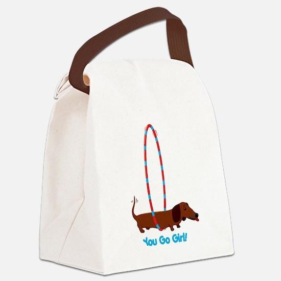 Hula Hoop Dachshund Canvas Lunch Bag
