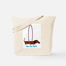 Hula Hoop Dachshund Tote Bag