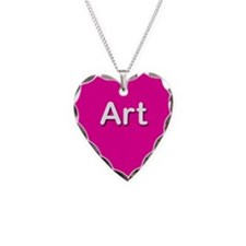 Art Pink Heart Necklace Charm