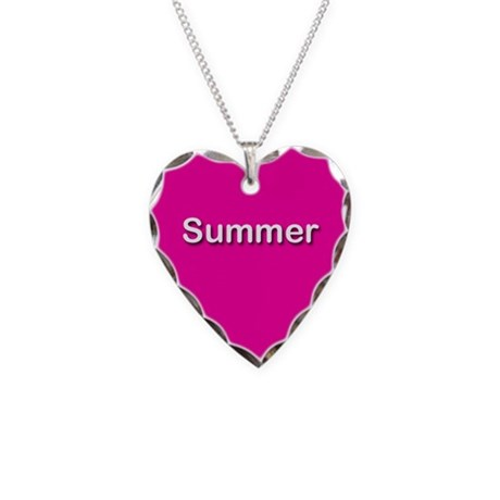 Summer Pink Heart Necklace Charm