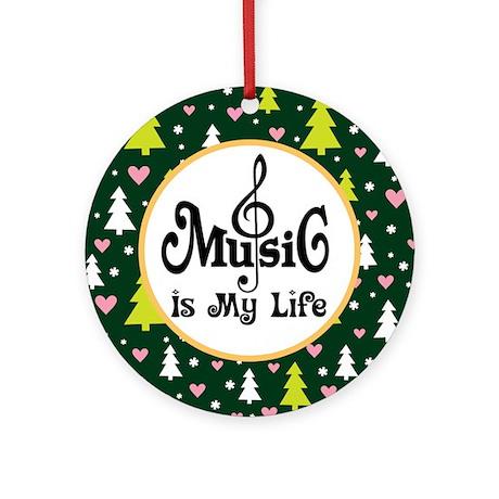 Music Is My Life Christmas Keepsake Ornament Roun By Milestonesmusic