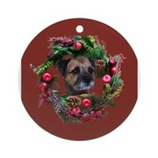 Cute Border terrier dog Ornament (Round)