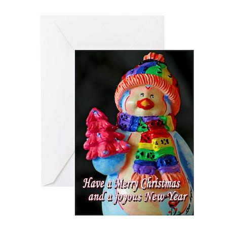 Rainbow Scarf Snowman Greeting Cards (Pk of 10)