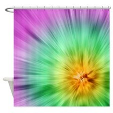 Green And Purple Tie Dye Shower Curtain