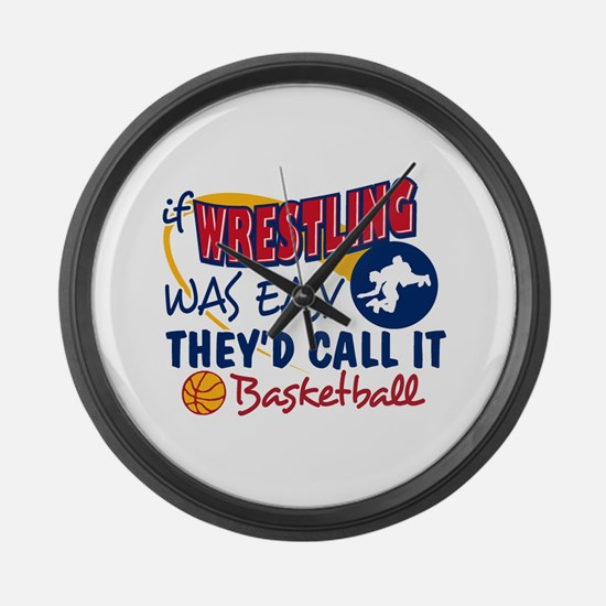 Wrestling Was Easy Large Wall Clock