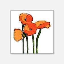 "poppies 1 Square Sticker 3"" x 3"""