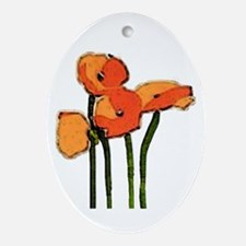 poppies 1 Ornament (Oval)