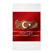 Turkey Map and Flag 3'x5' Area Rug