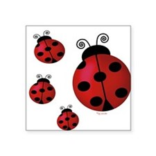Four ladybugs Rectangle Sticker