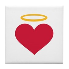 Red heart halo Tile Coaster