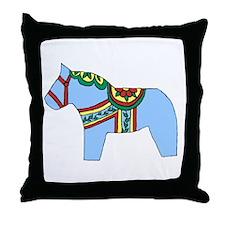 Blue Dala Horse Throw Pillow