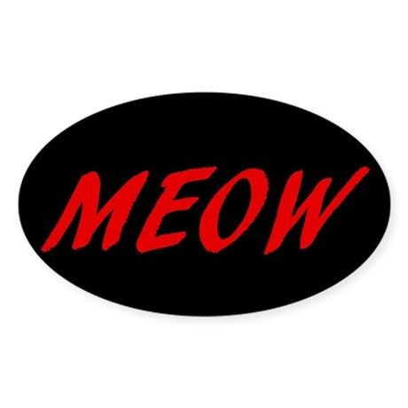 MEOW Oval Sticker (Red)