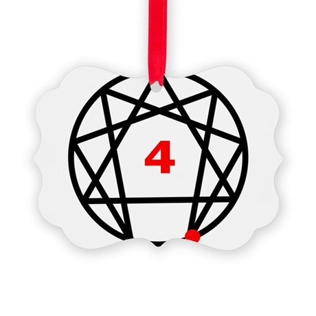 Enneagram 4 White.png Picture Ornament