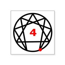 "Enneagram 4 White.png Square Sticker 3"" x 3"""