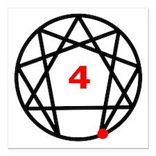 "Enneagram 4 White.png Square Car Magnet 3"" x 3"""