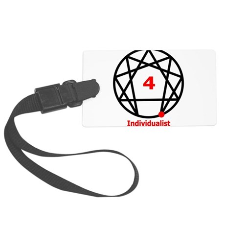 Enneagram 4 w text White.png Large Luggage Tag
