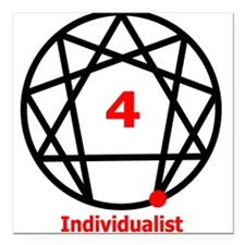 """Enneagram 4 w text White.png Square Car Magnet 3"""""""