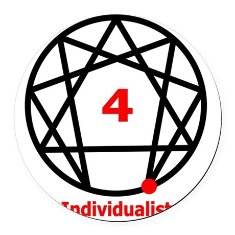 Enneagram 4 w text White.png Round Car Magnet