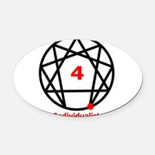 Enneagram 4 w text White.png Oval Car Magnet