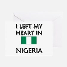 I Left My Heart In Nigeria Greeting Cards (Package