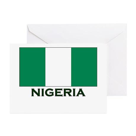 Nigeria Flag Gear Greeting Cards (Pk of 10)