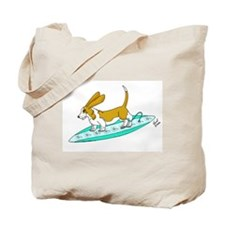 Surfing Basset Tote Bag