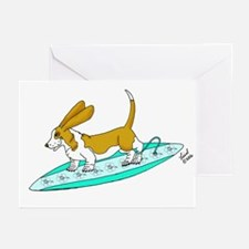 Surfing Basset Greeting Cards (Pk of 10)