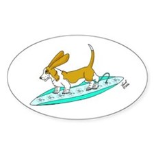 Surfing Basset Oval Decal