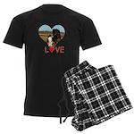 Love Hearts Men's Dark Pajamas