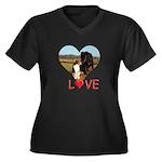 Love Hearts Women's Plus Size V-Neck Dark T-Shirt