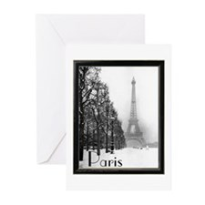 Eiffel Tower in The Snow Greeting Cards