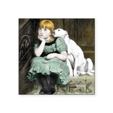 Dog Adoring Girl Victorian Painting Square Sticker
