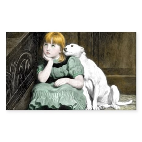 Dog Adoring Girl Victorian Painting Sticker (Recta