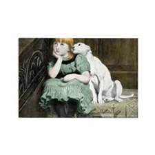 Dog Adoring Girl Victorian Painting Rectangle Magn