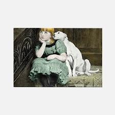 Dog Adoring Girl Victorian Painting Rectangle Magn