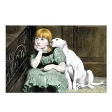 Dog Adoring Girl Victorian Painting Postcards (Pac