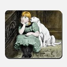Dog Adoring Girl Victorian Painting Mousepad